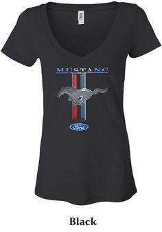 Ladies Ford Mustang Shirt Mustang Stripe Burnout by BuyCoolShirts