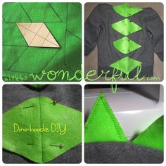 DIY: dinosaur hoodie. I have to make these for the girl's school program.