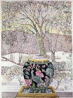 Lillian Delevoryas - Large Ginger Jar in Snowstorm