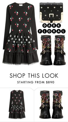 """In Bloom: Dark Florals"" by shoaleh-nia ❤ liked on Polyvore featuring RED Valentino"