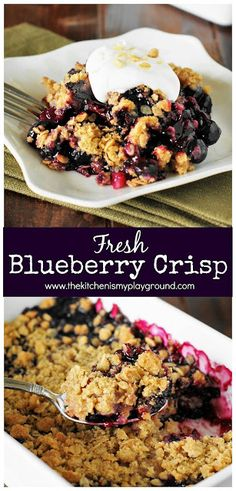 Blueberry Crisp … dee-lish Easy-as-can-be Blueberry Crisp ~ enjoy the flavors of fresh blueberry pie without the fuss of a crust! Smores Dessert, Potluck Desserts, Easy Desserts, Delicious Desserts, Dessert Recipes, Blueberry Recipes Easy, Fresh Blueberry Pie, Blueberry Dessert Easy, Healthy Blueberry Crisp