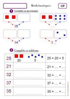 Exercices de Maths CP en ligne à imprimer