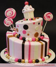 Pink Cupcake Topsy Turvy Cake | http://blog.pinkcakebox.com/cupcake-topsy-turvy-cake-2010-03-18.htm