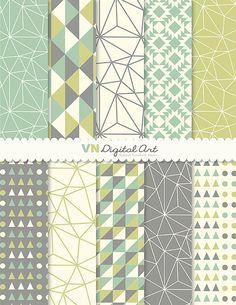 [Digital Paper Instant Download Geometric Digital by VNdigitalart, $3.00]