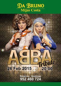 Espectáculo homenaje ABBA, donde cantarán todos los singles de éxito del grupo pop más famosa de todos los tiempos de Suecia.  ABBA tribute show featuring all the hit singles of Sweden's most famous pop sensations. RESERVAS: 952 460724