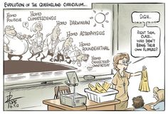 Evolution of QLD curriculum - cartoon by David Pope - 17 July 2012