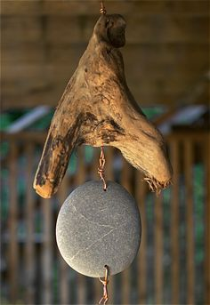 Detail image, Natural Pacific Driftwood and beach stone wind chime with large copper chimes: Coast Chimes