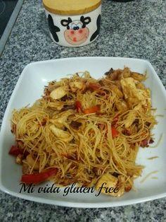 Mi vida gluten free: Fideos de arroz con pollo y gambas