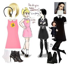 """""""Mandy and Wednesday"""" by batgirl-at-the-walking-dead3 ❤ liked on Polyvore featuring macgraw, Capezio, Madame Alexander, Salvatore Ferragamo, Falke, Elizabeth and James, Gucci, Tory Burch and Dorothy Perkins"""