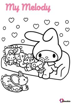 My Melody and friends. The cute sanrio characters are loved by children all over the world. You can print this coloring page right away. Collection of cartoon coloring pages for teenage printable that you can download and print. #ColoringPage, #MyMelody, #Printable, #Sanrio #ColoringPage, #MyMelody, #Printable, #Sanrio
