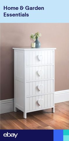 4435770f2c6 Karina Heart Wooden 4 Drawer Chest - White