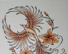 Sample Phoenix Rising Tiger Lily Orange Copper Fire Original Ink Fine Art