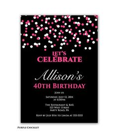 Confetti Birthday Party invitation Pink and Black 40th Birthday Invite Printable Adult Celebration Party Invite JPEG file (126)
