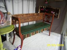Two chairs & a headboard bench.