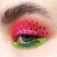 watermelon girl 🍉🍉🍉 · · · a juicy one! this color combo screams summ… watermelon girl 🍉🍉🍉 · · · a juicy one! this color combo screams summer! and since i'm leaving for my holidays i wanted to make something… Peach Makeup Look, Black Makeup Looks, Vintage Makeup Looks, Glitter Makeup Looks, Cute Makeup Looks, Yellow Makeup, Blush Makeup, Burgundy Makeup, Orange Eye Makeup