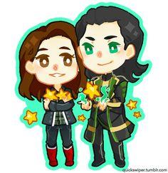 Loki and Jane Lokane Thor Loki, Thor, Marvel Characters, Disney Characters, Fictional Characters, Marvel Couples, Marvel Art, Brush Pen, Movies Showing