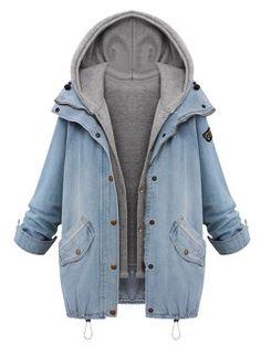 Shop Blue Hooded Zipper Rope Long Sleeve Denim Coat from choies.com .Free shipping Worldwide.$44.99