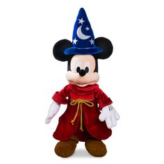 Costumed in Sorcerer's Apprentice robes from Walt Disney's Fantasia, soft stuffed Mickey Mouse brings home plush magic with every hug! Disney Mickey Mouse, Minnie Bow, Mickey Mouse Club, Disney Plush, Minnie Mouse, Parks, Disney Visa, Disney Disney, Fantasia Disney