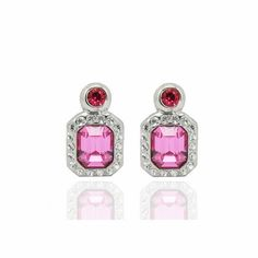 Personalized Swarovski Element Crystal White Gold Plated Rose Gemstone Stud Earrings DC46E3227 $11.50