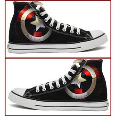 Captain America Shield Converse Shoes ($115) ❤ liked on Polyvore featuring shoes, converse footwear, acrylic shoes, star shoes, converse shoes and lucite shoes