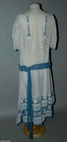 Lace & Eyelet Summer Tea Gown, C. 1922, Augusta Auctions