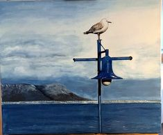 Möwe - Voëlklip im Hintergrund. Hermanus, Südafrika Acryl auf Leinwand. Nach eigene Aufnahme, 2014. Pencil Drawings, Painting & Drawing, Paintings, Canvas, Paint, Painting Art, Painting, Painted Canvas, Drawings