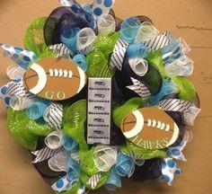 Seattle Seahawls deco mesh wreath. On Etsy