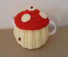 Toadstool Ladybird Tea Cosy - Hand Knitted Crochet Cozy - Novelty Teapot Cover