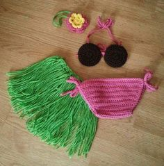 Conjunto hawaiano para nena tejido. Hermoso