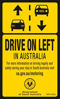 Drive on the left in Australia
