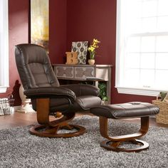 Southern Enterprises Leather Swivel Recliner with Ottoman
