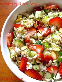 Strawberry quinoa salad with almonds and mint - a great healthy recipe to bring to your summer picnics and parties