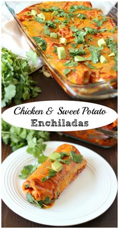 Chicken & Sweet Potato Enchiladas ~ www. ~ Tortillas filled with chicken, sweet potatoes and black beans, then smothered in enchilada sauce and cheese! Healthy Chicken Recipes, Pork Recipes, Mexican Food Recipes, Dinner Recipes, Cooking Recipes, Fast Recipes, Healthy Meals, Kitchen Aid Recipes, Sweet Potato Tacos