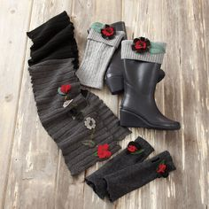 Recycled Wool Scarf, Fingerless Gloves, and Boot Cuffs - Acacia
