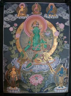 High Quality #GreenTara Tibetan Thangka Handmade in Nepal, ShakyaHandicraft.Com