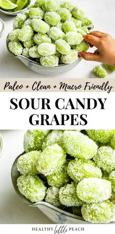 These Sour Candy Frozen Grapes is a healthy twist on Sour Patch Kids. They are kid friendly and the perfect healthy and Paleo snack or dessert. # Food and Drink health Healthy Sour Candy Frozen Grapes - Healthy Little Peach Healthy Work Snacks, Healthy Sweets, Healthy Dessert Recipes, Easy Snacks, Healthy Eating, Healthy Candy, Healthy Desserts With Fruit, Vegetarian Recipes For Kids, Healthy Snack Recipes