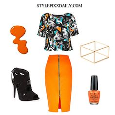 OUTFIT OF THE DAY: CUTABOUT PRINT TEE, BRIGHT ORANGE PENCIL SKIRT & LACE UP HEELS