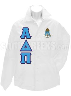 White Alpha Delta Pi crossing jacket with the crest on the left breast and the Greek letters down the right.