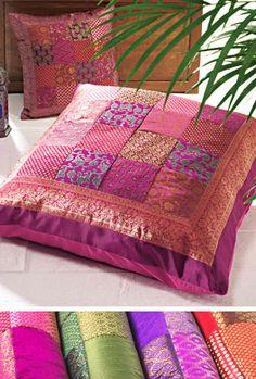 Boho, Patchwork sari floor cushion cover, pillows, gypsy, meditation                                                                                                                                                      More
