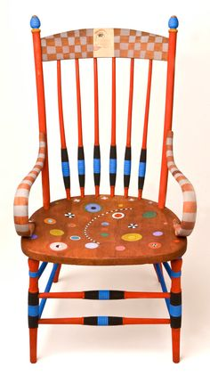 Check out the deal on Vintage Chair Hand-Painted in Fabric Dyes at Eco First Art Whimsical Painted Furniture, Hand Painted Chairs, Hand Painted Furniture, Funky Furniture, Recycled Furniture, Art Furniture, Colorful Furniture, Furniture Projects, Furniture Makeover