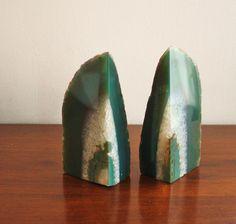 agate quartz bookends