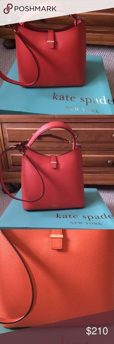 "Kate Spade Leonard Street Mariel, Applejelly Brand new, Leonard Street Mariel shoulder bag w detachable shoulder strap. Applejelly color (orange red).  Size 10.9""h x 10.9""w x 6.6""d. Material: pebbled leather w crosshatched leather backing & matching trim. 14 carat gold plated hardware, unlined, interior zip pocket, dust bag included. kate spade Bags Shoulder Bags"