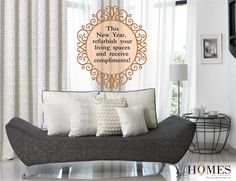 Get a complete makeover for your home this New Year! Explore more @ www.homesfurnishings.com #HomeDecor #HomesFurnishings #UpholsteryCollection #Furnishings #Draperies #DraperyCollection #NewYear2016