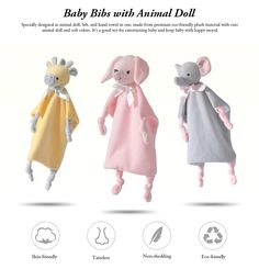 Baby Bibs with Animal Doll Elephant Rabbit Bear Deerlet Crystal Velvet Dolls Bibs for Years Old Babies Home Outdoors Essential Baby Hand Towels : Bibs & Burp Cloths Velvet Dolls, 3 Years Old Baby, Baby Hands, Baby Bibs, Soft Colors, Burp Cloths, Cool Toys, Hand Towels, Baby Shop