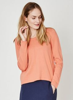 Isadora Organic Cotton Knit Top Soft Orange