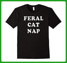 Mens Feral Cat Nap Tee - Napping Like You Cannot Be Tamed Shirt 3XL Black - Animal shirts (*Amazon Partner-Link)