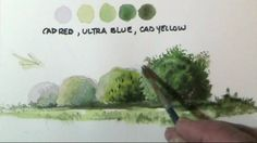 How to paint trees & bushes in watercolor lessons by Dennis Clark