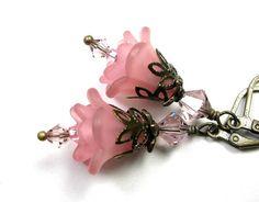 Antique Pink Swarovski Crystal Lucite Flower by jewelrybyNaLa
