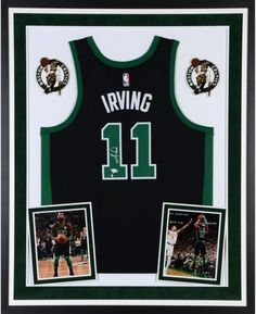 df70ad213a36 Kyrie Irving Boston Celtics Deluxe Framed Autographed Black Swingman Jersey  - Panini Authentic - Authentic Signed