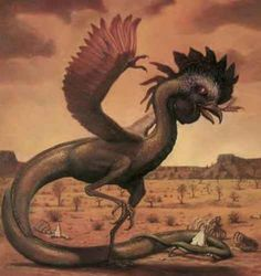 The Basilisk, or Cockatrice. A mythological beast who will turn you to stone if you look into its eyes. Greek Creatures, Creatures Of The Night, Mythological Creatures, Mythical Creatures, Serpent Animal, Dragons, Dark Stories, Fantastic Beasts, Faeries
